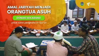 Banner program Amal Jariyah Menjadi Orang Tua Asuh Untuk Penghafal Al Quran
