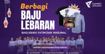 Banner program Berbagi Baju Lebaran, Berbagi Senyum Bahagia