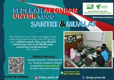 Gambar banner Sedekah 1000 Al Quran untuk Santri dan Muallaf