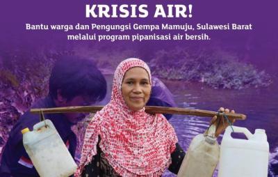 Gambar banner Krisis Air Bersih, Bantu Warga Pengungsi Gempa Mamuju