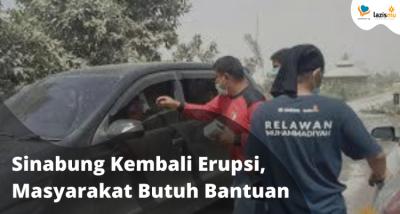 Banner program Sinabung Kembali Meletus, Masyarakat Butuh Bantuan