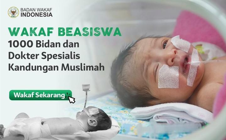 Banner program Wakaf Beasiswa 1000 Bidan dan Dokter SPOG Muslimah