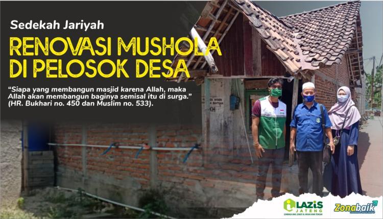 Banner program Sedekah Jariyah, Bantu Renovasi Mushola di Pelosok Desa