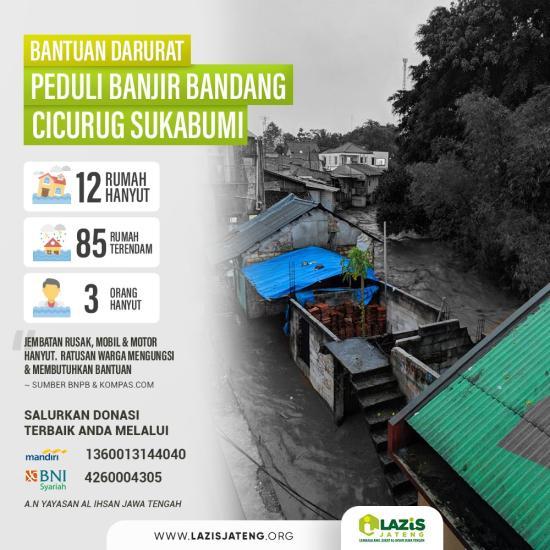 Banner program BANTUAN DARURAT BANJIR BANDANG SUKABUMI