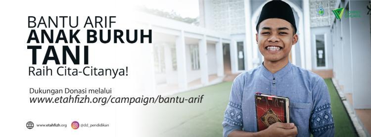 Banner program Dukung Arif Anak Buruh Tani Raih Mimpi