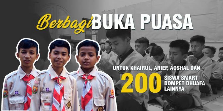 Banner program Berbagi Buka Puasa untuk Siswa SMART Dompet Dhuafa