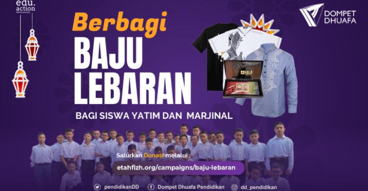 Gambar banner Berbagi Baju Lebaran, Berbagi Senyum Bahagia