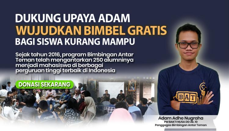 Banner program Dukung Upaya Adam Wujudkan Bimbel Gratis