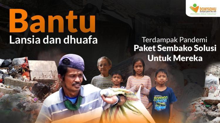 Banner program Patungan Sembako Lebaran Untuk Lansia dan Dhuafa