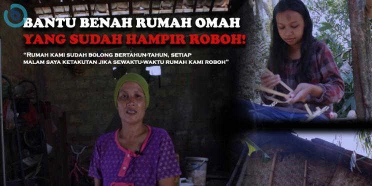Banner program BANTU BENAH RUMAH OMAH, YANG SUDAH HAMPIR ROBOH