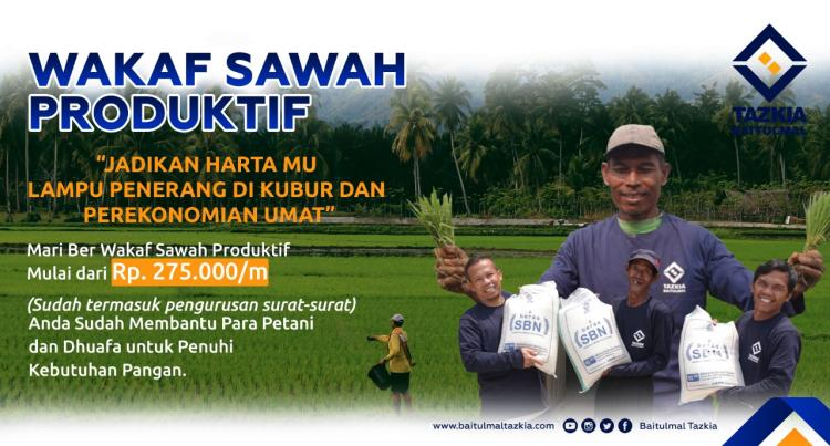 Banner program Wakaf Sawah Produktif