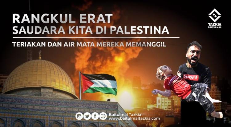 Gambar banner RANGKUL ERAT SAUDARA KITA DI PALESTINA