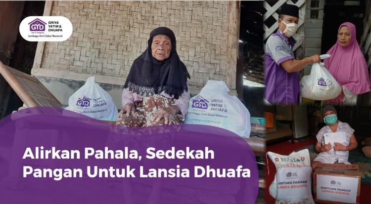 Banner program Sedekah Pangan untuk Lansia Dhuafa
