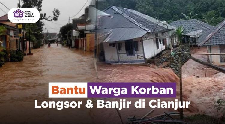 Banner program Bantu Warga Korban Banjir dan Longsor di Cianjur