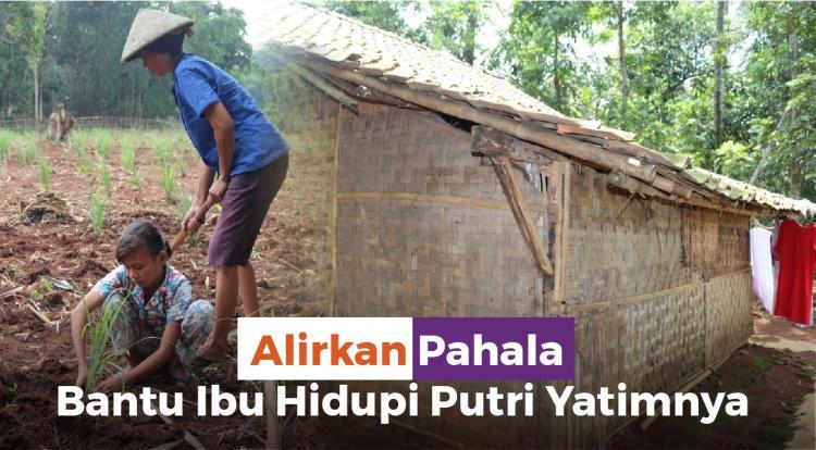 Banner program Alirkan Pahala, Bantu Ibu Hidupi Putri Yatimnya