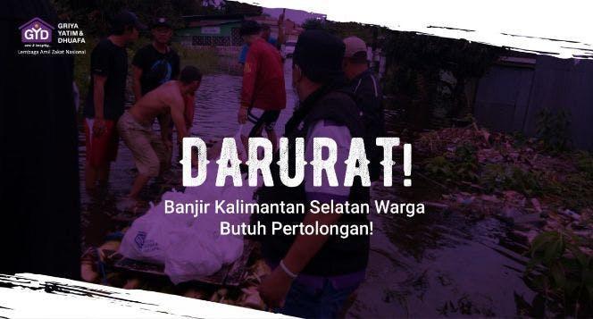 Banner program Kalimantan Berduka, Bantu Warga Terdampak Banjir