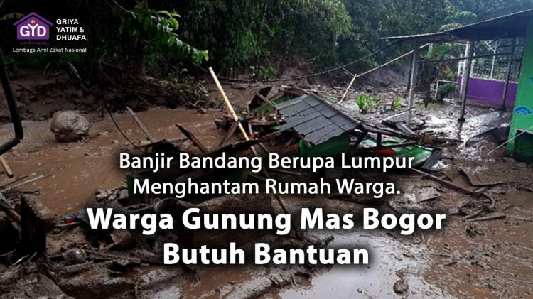 Banner program Mari Bantu Segera Gunung Mas Bogor Banjir Bandang