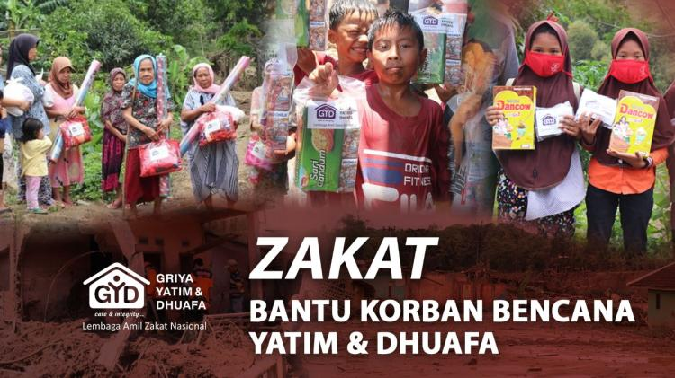 Banner program Zakat Untuk Yatim  Dhuafa Korban Bencana