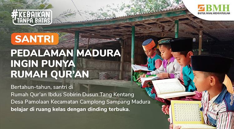 Banner program Sedekah Jariyah, Kokohkan Gubuk Rumah Quran Pedalaman Madura