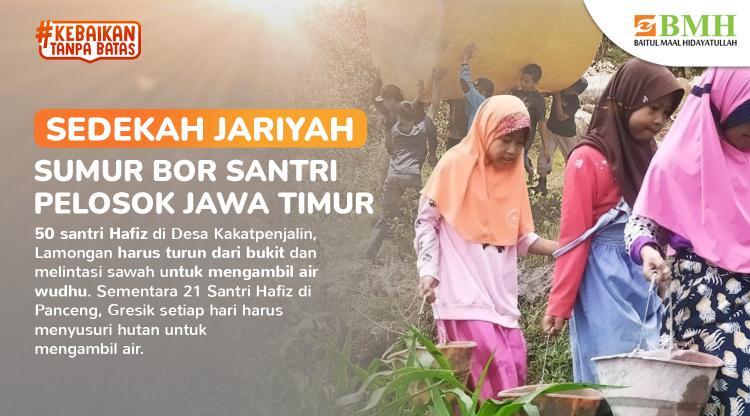 Banner program Bangun Sumur Bor Santri Pelosok Jawa Timur