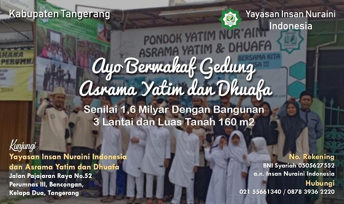 Banner program Ayo Berwakaf Gedung Asrama Yatim dan Dhuafa