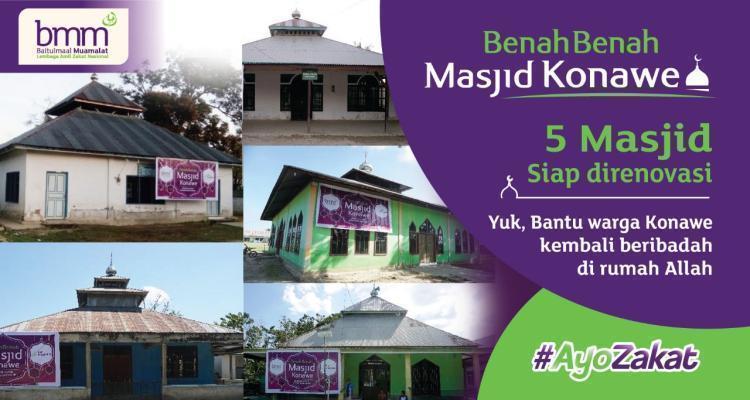 Banner program Perbaiki Masjid Rusak Pasca Bencana Konawe