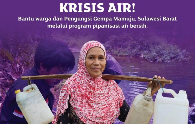 Banner program Krisis Air Bersih, Bantu Warga Pengungsi Gempa Mamuju