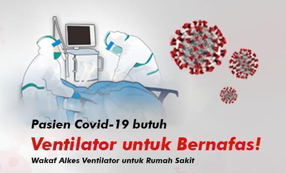 Banner program Wakaf Ventilator untuk Pasien Pandemi di Rumah Sakit