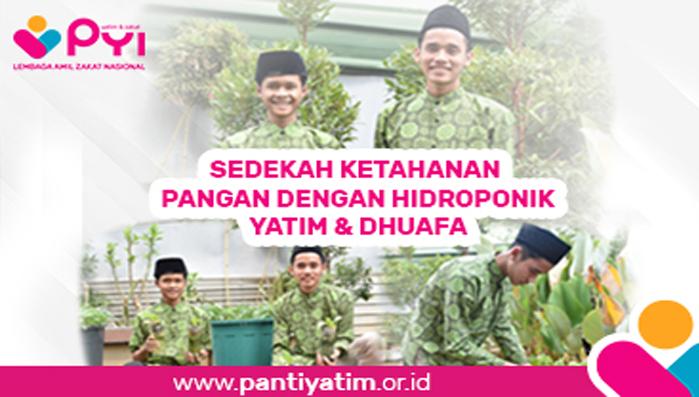 Banner program SEDEKAH KETAHANAN PANGAN DENGAN HIDROPONIK YATIM  DHUAFA