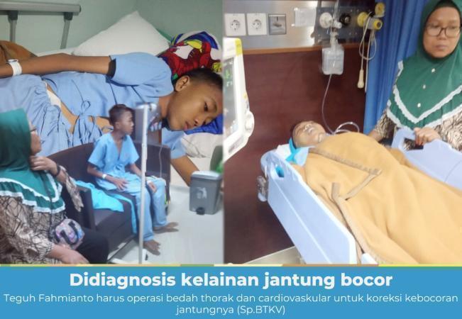 Banner program Kelainan Jantung Bocor, Teguh Harus Operasi Bedah Thorak