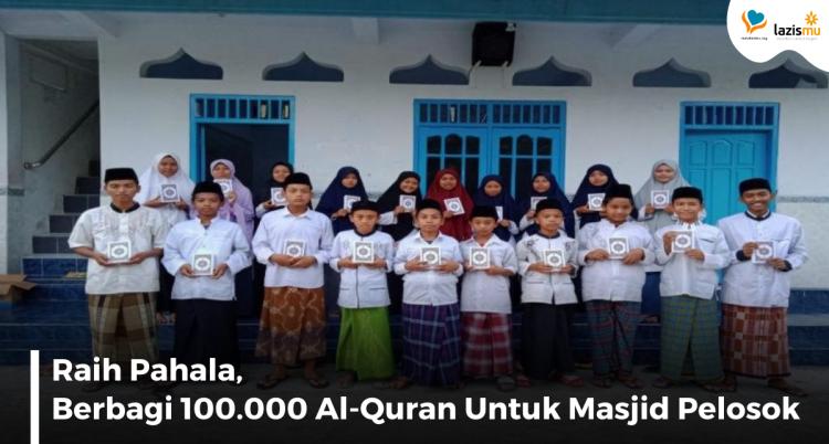Banner program Sedekah 100.000 Al-Quran, Bantu Masjid Pelosok Punya Al-Quran Baru
