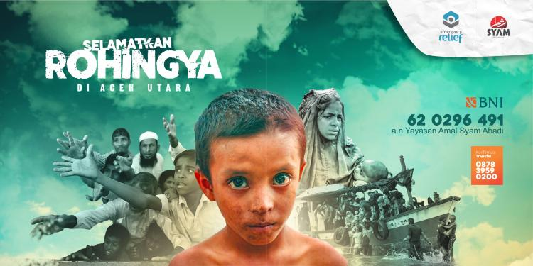 Banner program Selamatkan Rohingya di Aceh Utara